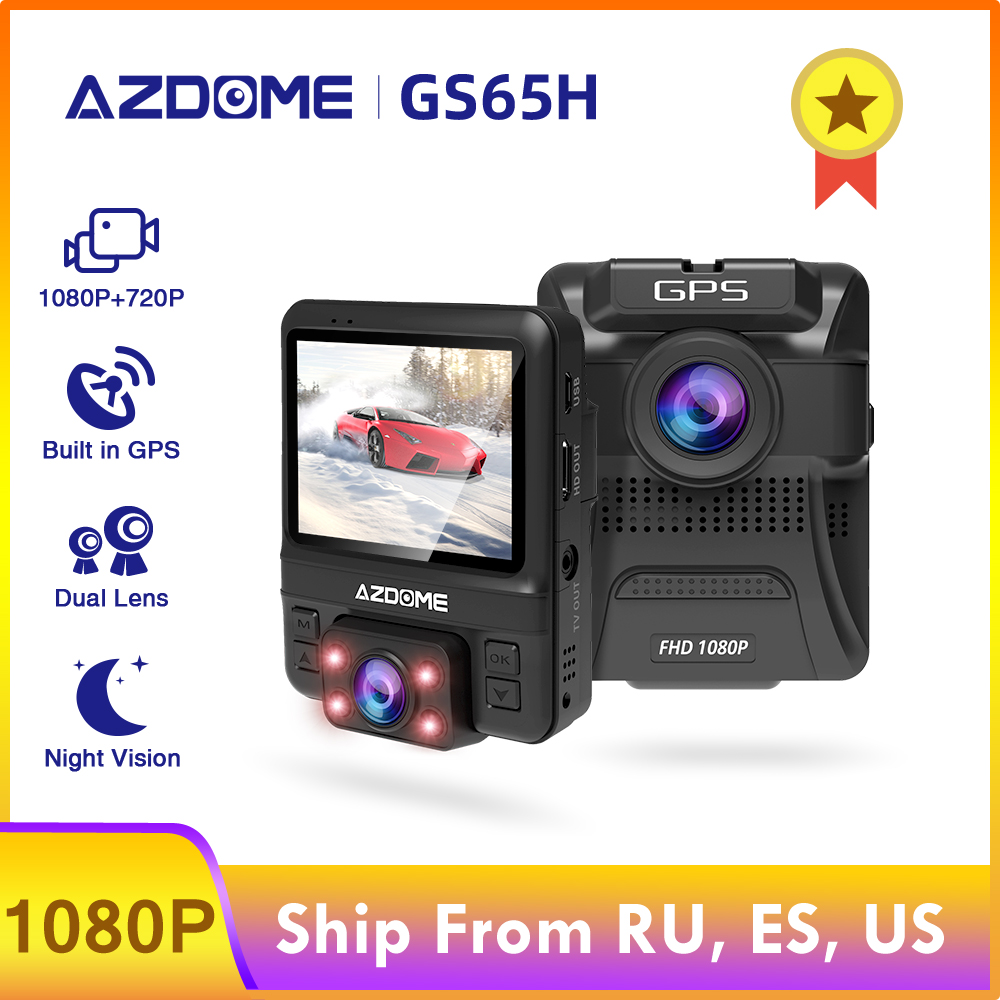 AZDOME GS65H Car DVR Mini Dual Lens Dash Cam Front Full HD 1080P / Rear 720P Car Camera Night Vision GPS For <font><b>Uber</b></font> Lyft Taxi image