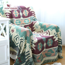 Slowdream 100% Cotton Blanket Bohemian Style Sofa Cover Bed Cover Quilt Blanket Knitted For Adult 130x180cm Size Home Decoration(China)