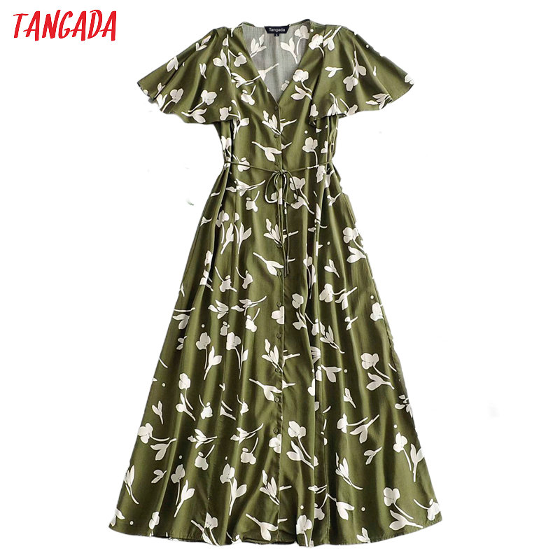Tangada Fashion Women Leaf Print Dress Buttons 2020 Summer New Arrival Short Sleeve Ladies Loose Midi Dress Vestidos 3A33