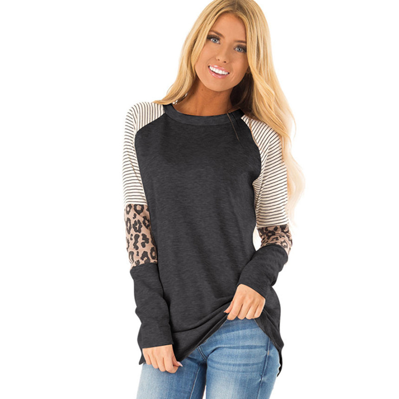 Leopard Casual Women T-shirt 2019 New Loose O-neck T Shirt Women Long Sleeve Tee Top Fashion Ladies Female Outwear Women Shirts