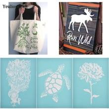 Chzimade Flower Animals Silk Screen Printing Stencils For Pillow Wall Handmade Home Decoration