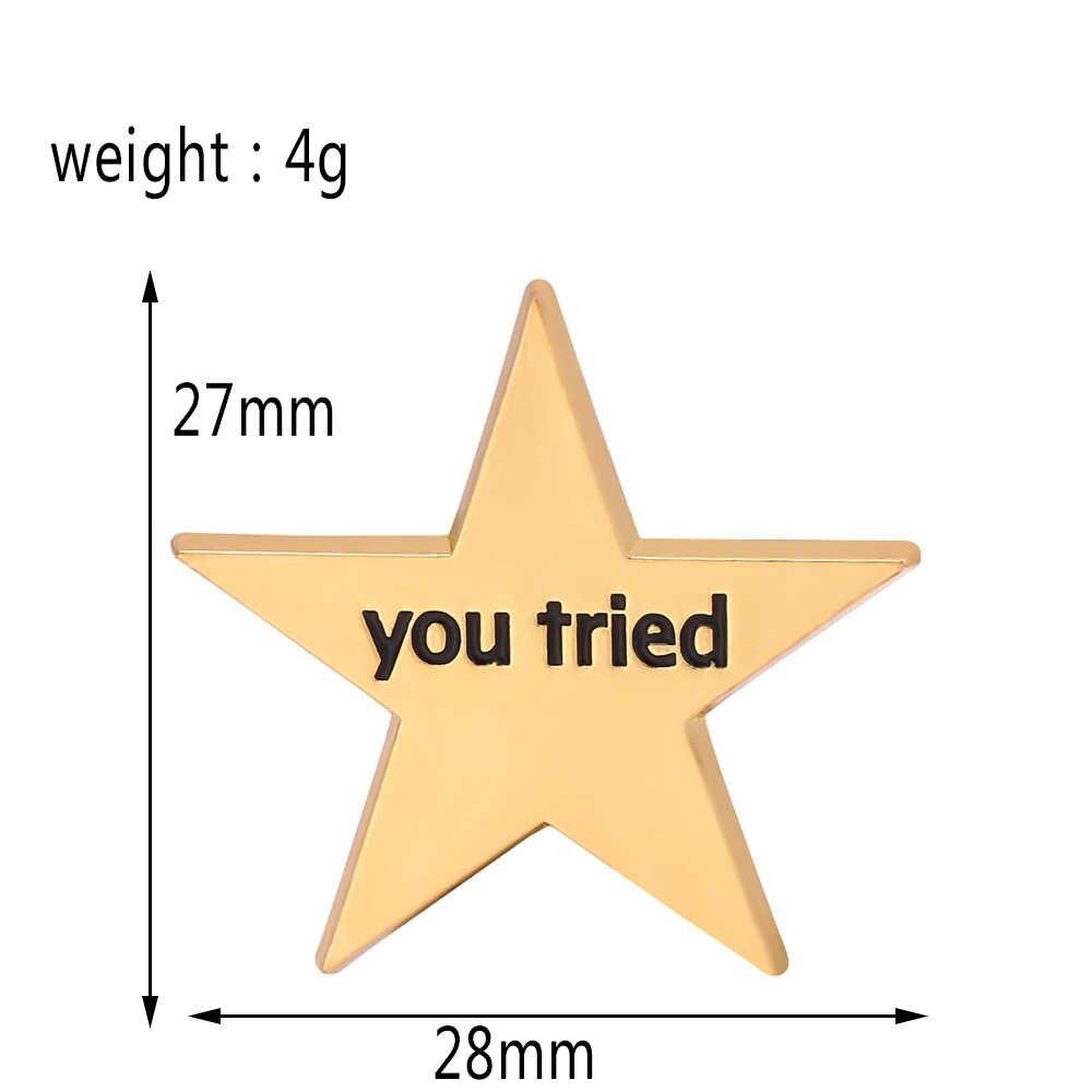 Altın yan yaka Pin gravür sizin denedim SKONT pimleri boynuzları beş köşeli yıldız peri emaye broş Pin Metal çanta rozetleri takı