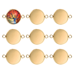 20pc Gold Stainless Steel Bracelet Connector Cabochon Setting Round Blank Tray Bezel Pendant Base Jewelry 10/12/14/16/18/20mm