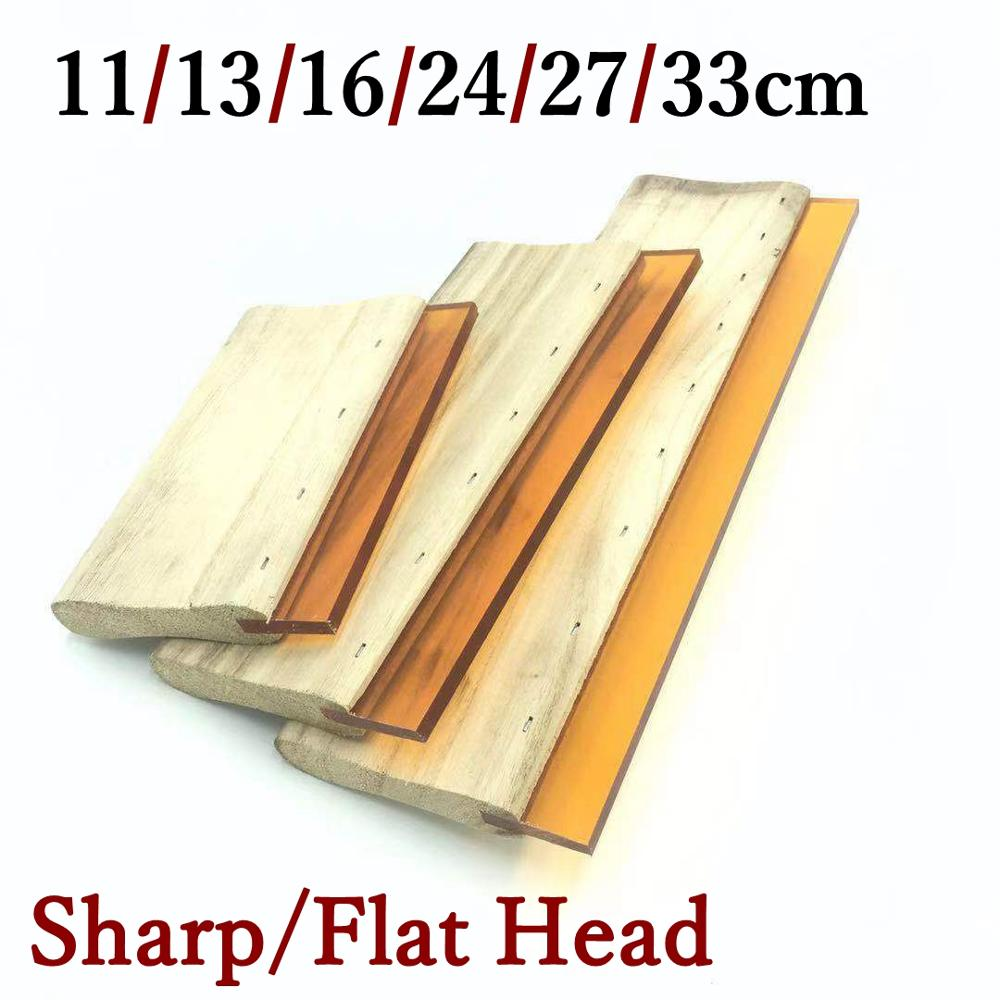 Multi-size Flat/Sharp Head Wear-proof Silk Screen Printing Squeegees Blade Ink Scaper Scratch Board Tools 11/13/16/24/27/33cm