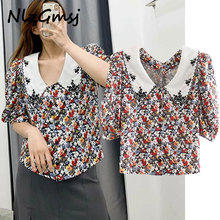 nlzgmsj england style vintage floral summer sexy blouse women blusas mujer de mo