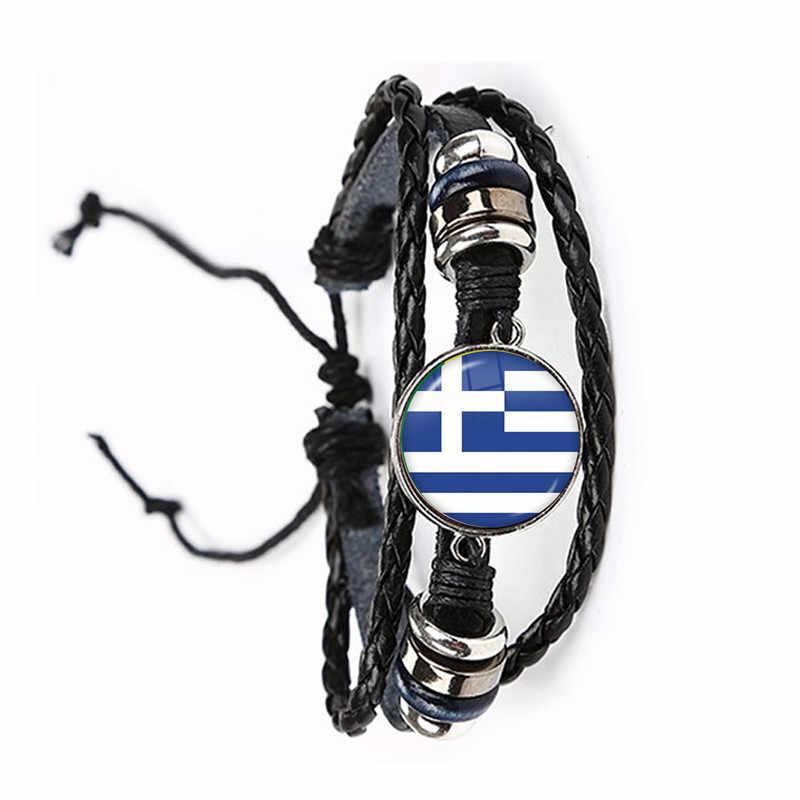 国旗ガラスカボションブレスレットギリシャ、ヨルダン、イタリア、ナイジェリア、ドイツ、イラン、チェコ共和国、リトアニアのレザーバングルギフト