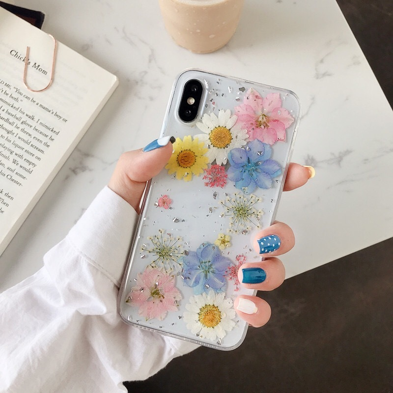 Dried Real Flower Cases For iPhone X XS Max XR Case Handmade Soft Cover For iPhone 6 6S 7 8 Plus 11 Pro Max Phone Case