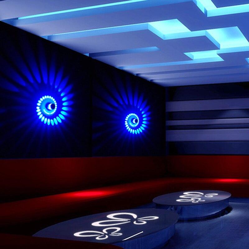 Junejour цветной настенный светильник с отверстиями по спирали поверхность установка светодиодный светильник 1/3 Вт цвет для современного KTV/бар/гостиная