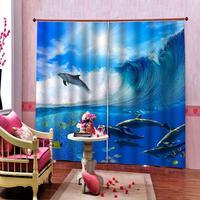 Photo Custom Sharks surf Shower Curtains For Digital Print Living room bedroom Drapes Indor Decor(left and right side)