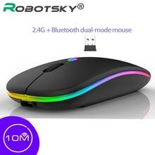 RGB Silent Wireless Mouse Dual Mode Bluetooth 5.0 + 2.4G Rechargable 1600DPI Ergonomic