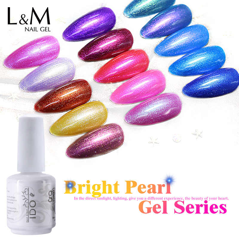 Ido 12 Pcs/set Kualitas Tinggi Kuku Gel Polandia Bright Pearl Warna Seri Gel UV LED Rendam Off Art Beauty Bersinar gel Cat Kuku