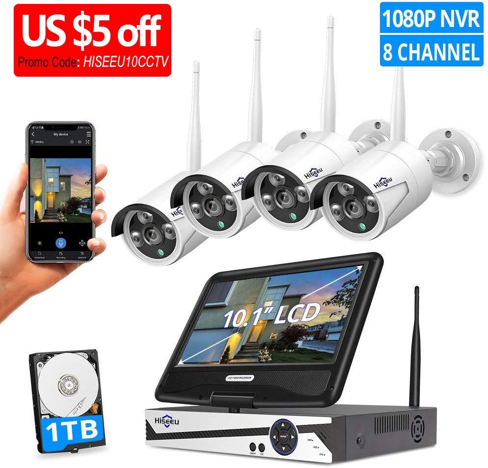 "Hiseeu 8CH 1080P Wireless Surveillance Camera CCTV Kit With 10.1"" Monitor 2.0MP Outdoor Weatherproof Security Camera System Set"