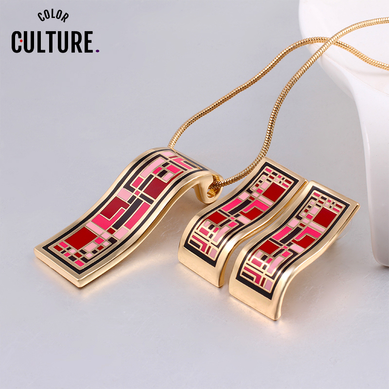 Dubai Gold Jewelry Sets Red Enamel Necklace Set Necklace Earring