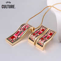 2019 New Arrival Dubai Gold Jewelry Sets for Women Red Elegant Classic Enamel Necklace Set (Necklace, Earring)