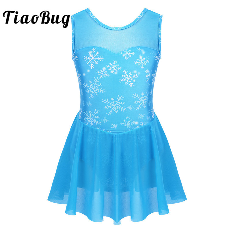 TiaoBug Kids Dance Wear Sleeveless Snowflake Pattern Mesh Splice Gymnastics Leotard Girls Ballet Costume Figure Skating Dress