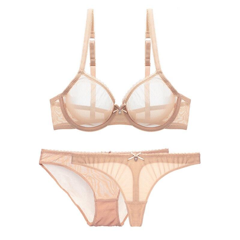 Image 3 - Varsbaby sexy mesh lace underwear transparent unlined 1 bra+2 panties bra set plus size 32 42CDEBra & Brief Sets   -