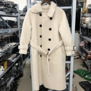 Image 2 - [DEAT] 2020 New Winter Fashion Womens Coat Lapel Belt Lamb Lambswool Woolen Nine Sleeves Thick With Belt Warm Long Length AI773