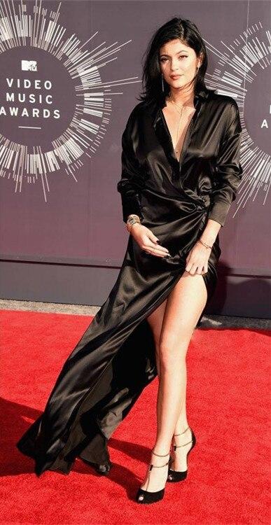 Hot Sale Roter Teppich Long Sleeve Black Split Jenner Clothes V-Neck Floor-Length Vestido De Noche Mother Of The Bride Dresses