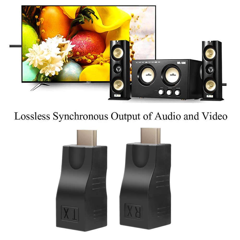 KEBIDU 4K HDMI 1,4 Extender a RJ45 sobre Cat 5e/red LAN Ethernet adaptador RX HDMI Extender TX para el proyector de la TV de hasta 30M