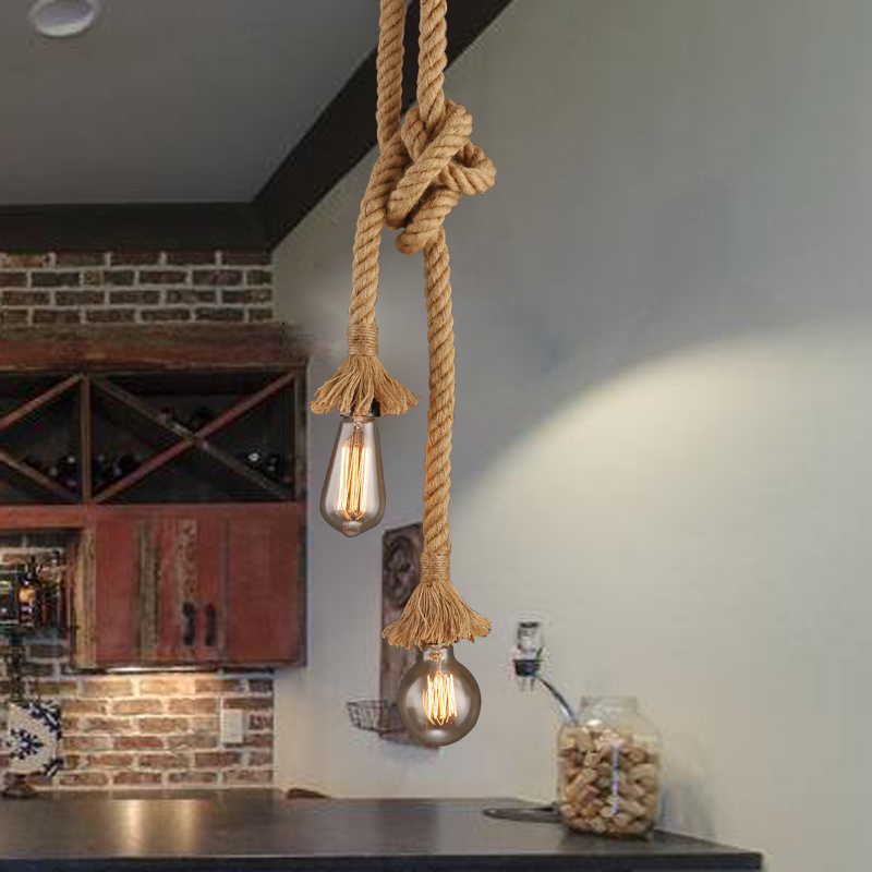 Simple Vintage Hemp Rope Retro Loft Industrial Hanging Lamp Small  Industrial Pendant Light Pendant Lamp Edison Lamp