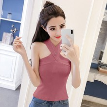 Women Versatile Sleeveless Off Shoulder Slim Knit Solid Color Sexy Cross Hanging Neck Camisole