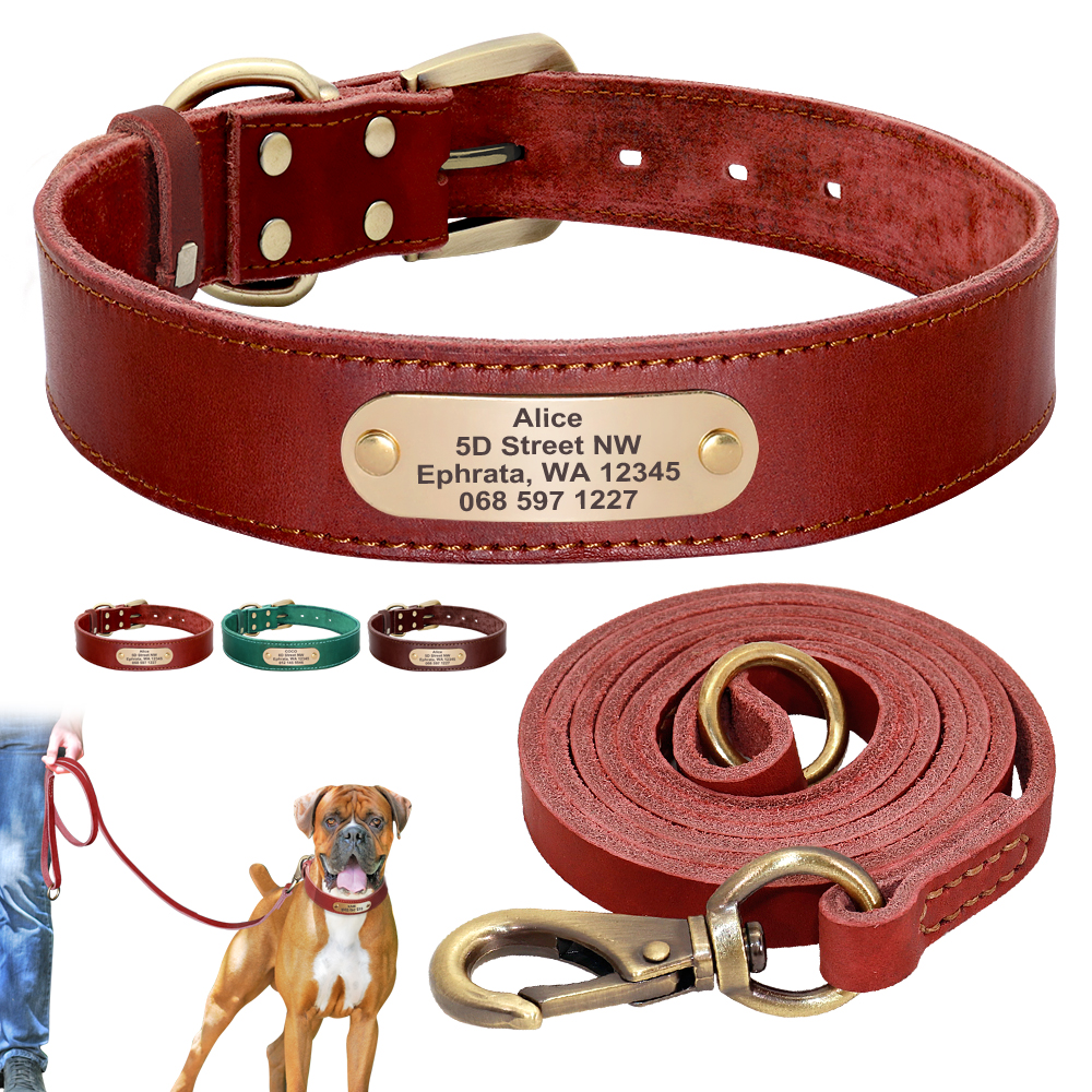 Personalized Dog Collar And Leash Set Real Leather Pet Collars Dogs Walking Lead Leash for Small Large Dogs Pitbull XXS-XL
