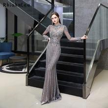 Dark Gray Long Sleeve Dubai Evening Dresses High Neck Luxury Beading Mermaid Evening Gowns 2020 New Styles Formal Dress