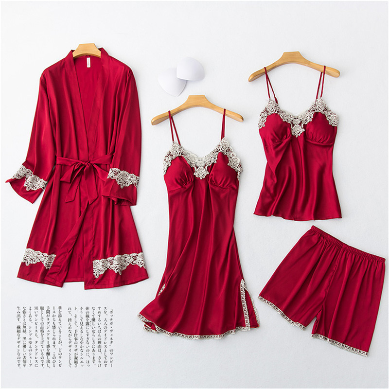 Daeyard Women's Pajamas Silk Robe Gown And Cami Shorts 4Pcs Pyjamas Set Sexy Lingerie Lace Trimmed Pijama Sleepwear Home Clothes