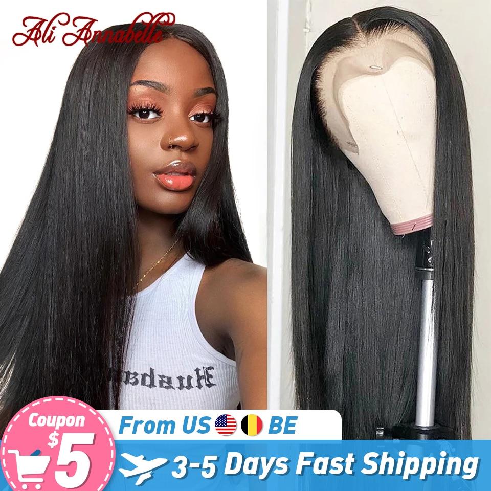 Ali annabelle perucas retas brasileiras do cabelo humano da parte dianteira do laço 13x4 perucas frontal do laço preplucked linha fina 4x4 5x5 perucas do fechamento do laço