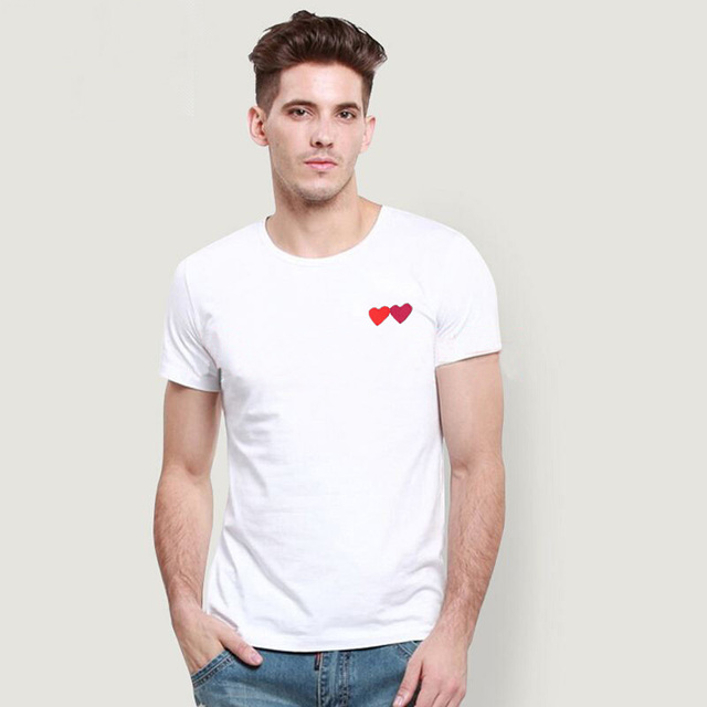 (Have eyes)Couple T-Shirt 2020 Casual Embroidery Single/double Love-Heart Breathable Tshirt Casual Summer Outfits For Man Women 4