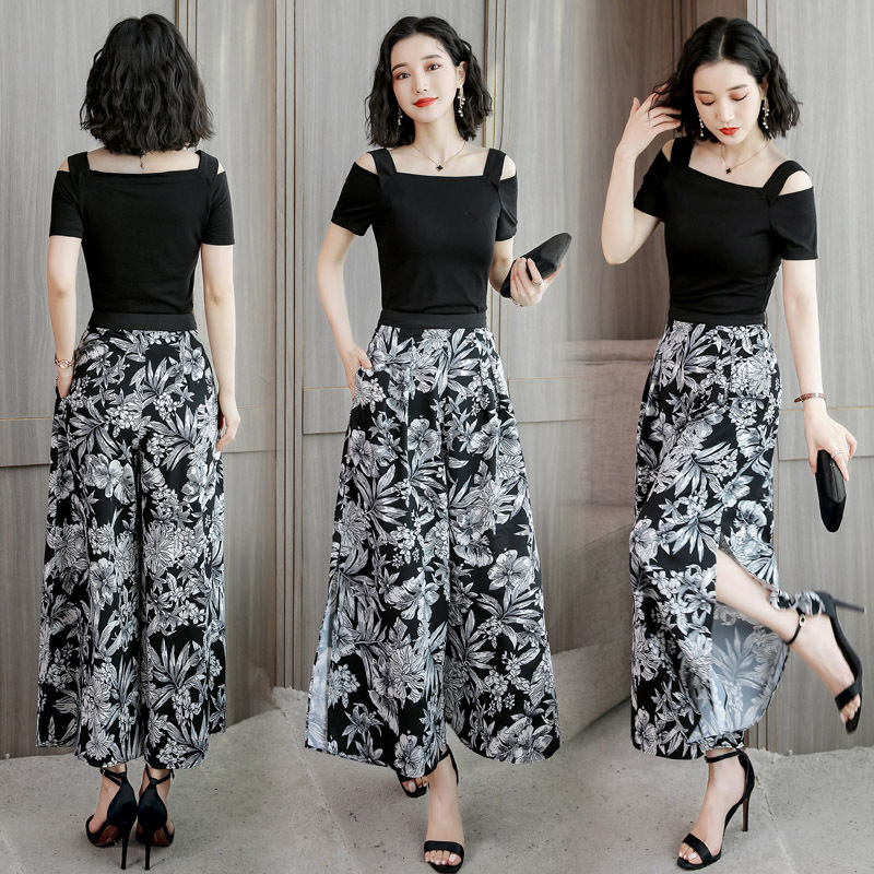 WOMEN'S Suit Summer Loose Pants Two-Piece Chiffon High-waisted Wide Leg Pants Slit Culottes Fashion 2019