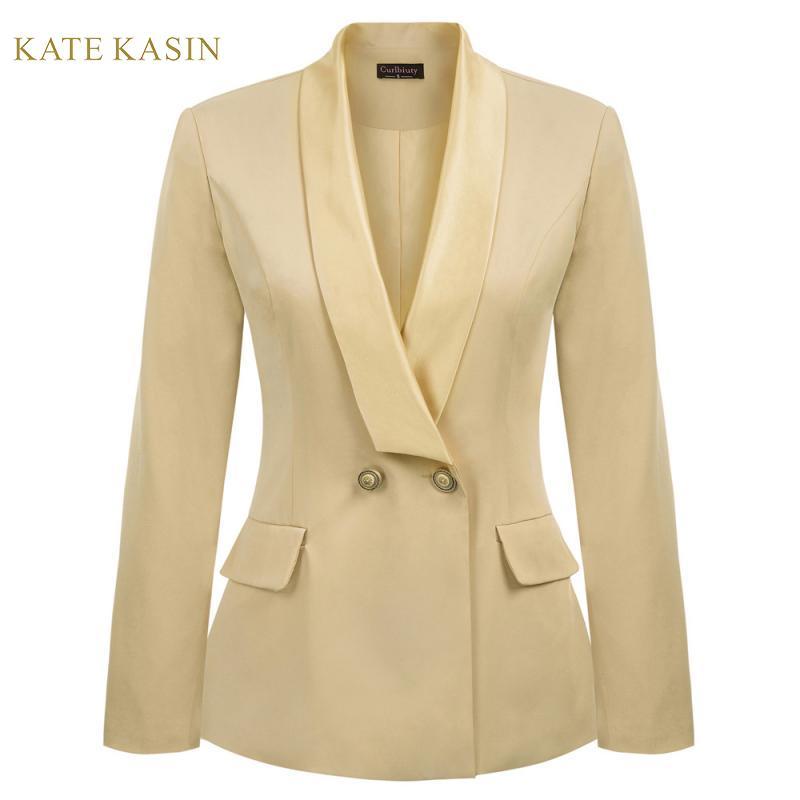 Kate Kasin Women Simple Classic Blazers Jackets Lapel Shoulder Pads Blazer Feminino Coat Office Lady Outwear Work Suit Jacket