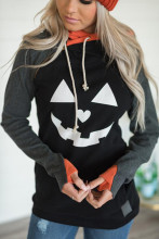 Women Long Sleeve Plus Size Halloween Pumpkin Print Hoodie Top H0821 plus size halloween moon bat print hoodie with pocket