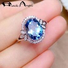 Черный Ангел роскошный Овальный голубой топаз драгоценный камень