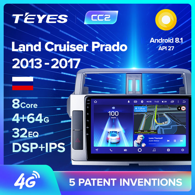 TEYES CC2 For Toyota Land Cruiser Prado 150 2013 Car Radio Multimedia Video Player Navigation GPS Android 8 1 No 2din 2 din dvd