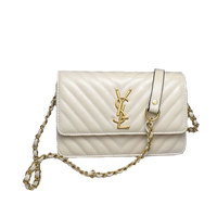 Women's Fashion Classic Designer Embroidered Plaid Handbag Chain Mini Flap OL Crossbody Bag Shoulder Bag for Office Daily