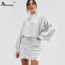 Aimsnug Sexy Solid Long Sleeve Round Neck High Waist Pleated Drawstring Backless Vintage 2019 Autumn Women's Above Knee Dress active round neck drawstring waist tracksuit in beige