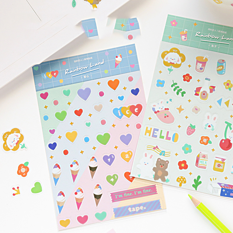 Mohamm Rainbow Series Kawaii Cute Sticker Custom Stickers Diary Stationery