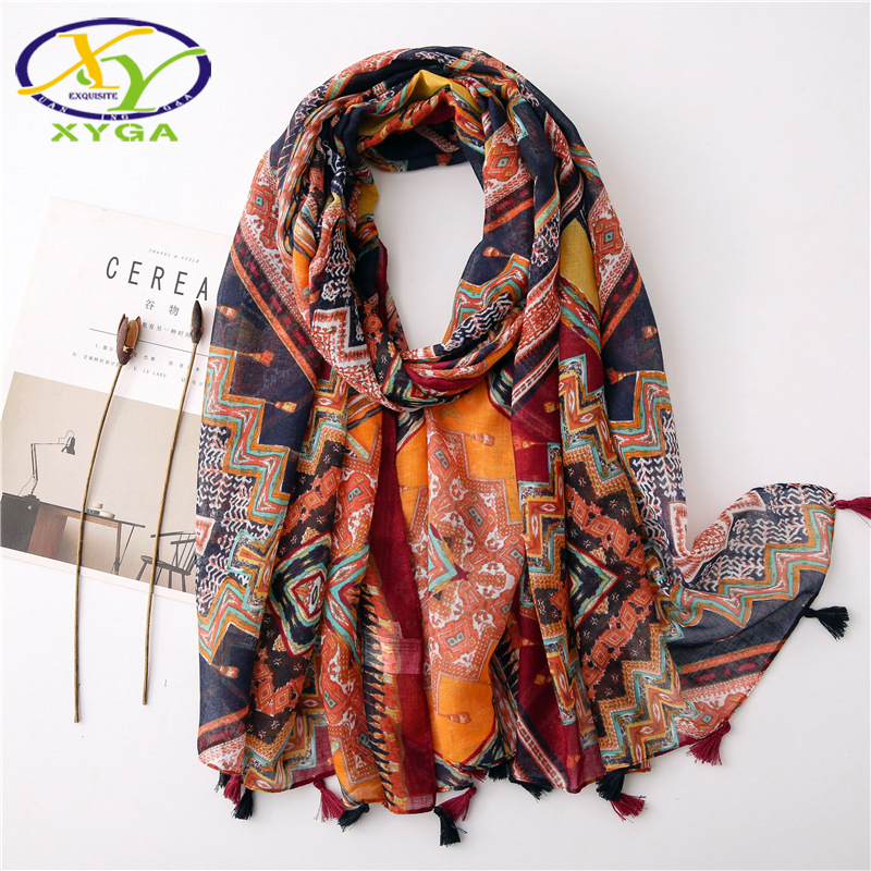 Cotton Women Long Scarves Spring Tassels Fashion Acrylic Ladies Summer Sunscreen Wraps Autumn Female Head Scarves Shawls