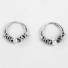 Thai Silver Retro Small Hoop Earrings With Beads Spiral Coils For Women Men 925 Sterling Round Ear Bone Buckle