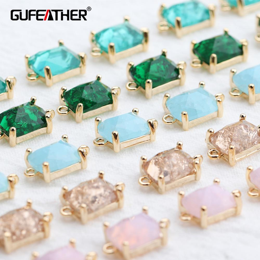 GUFEATHER M525,jewelry Accessories,18k Gold Plated,diy Zircon Pendant,hand Made,charms,jewelry Findings,jewelry Making,6pcs/lot