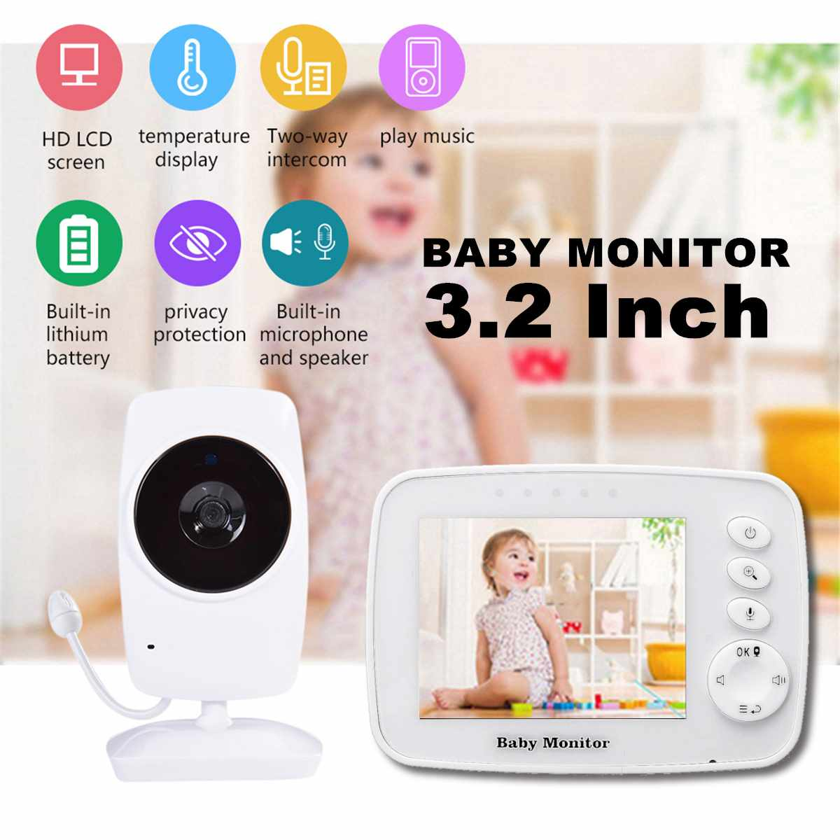 Wireless Baby Sleeping Monitor LCD Display Screen Audio Video Receiver Night Vision Home Children Monitor Digital Video Kids