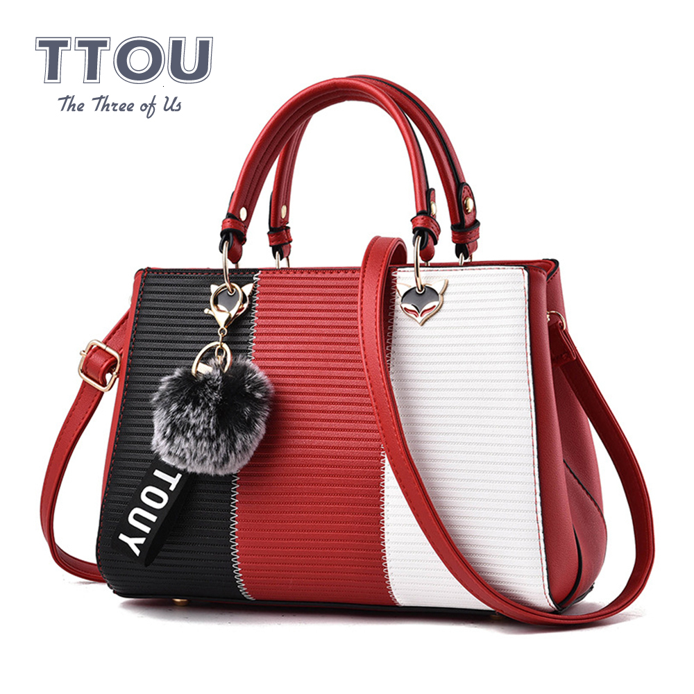 Women Hairball Ornaments Handbags Patchwork Party Ladies  Shoulder Crossbody Bags Office Female Fashion Casual Shoulder Bags