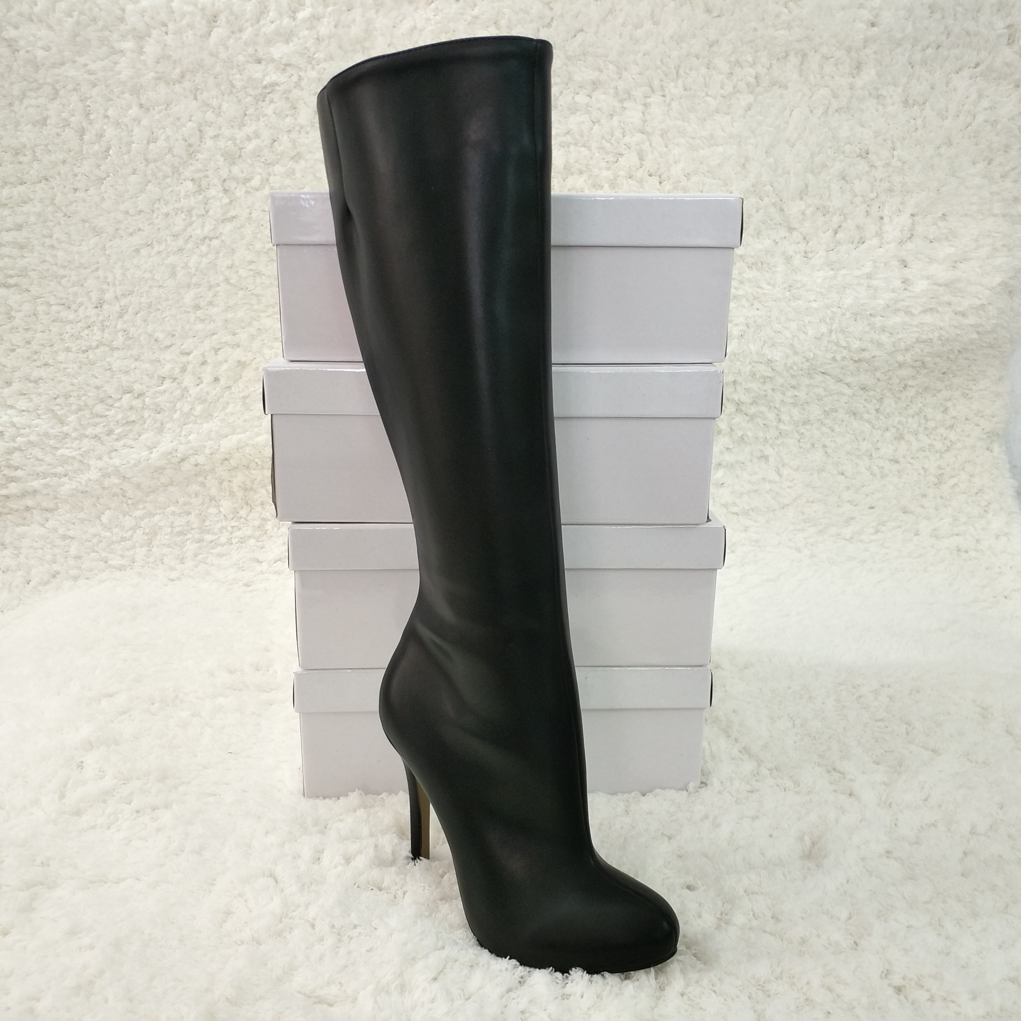 Fashion Women Stiletto Thin High Heel Knee-High Boots Round Toe Black PU Evening Party Career Lady Office Long Boots 3cbt-b11