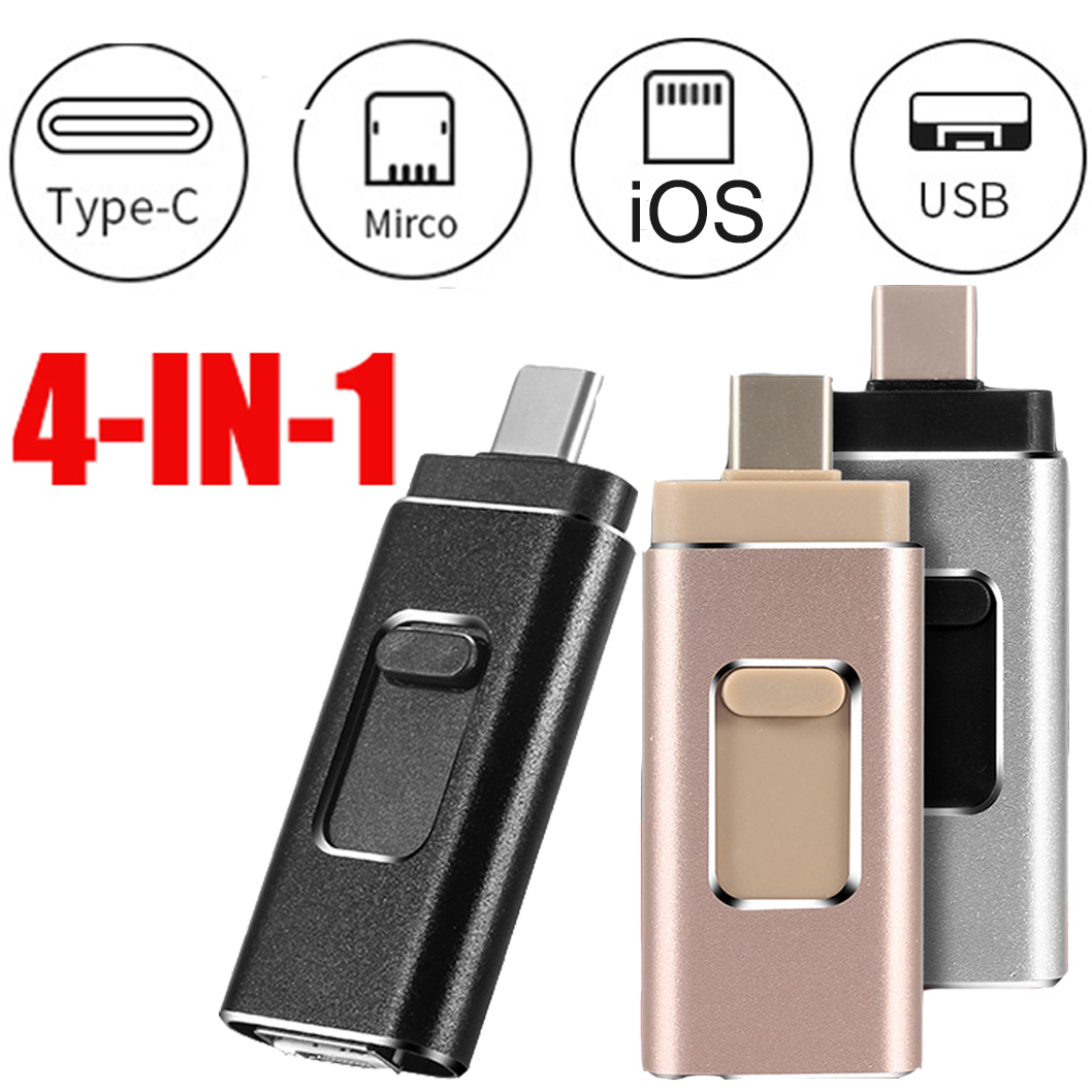 4 In 1 Multi-function Type C USB Flash Drive 32GB Mobile Phone OTG USB Pendrive 64GB 128GB Metal Pen Drive 32G Dropshipping 3.0