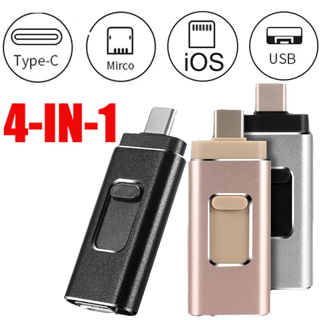 4 in 1 Multi-function Type C USB Flash Drive 32GB Mobile Phone OTG USB Pendrive 64GB 128GB Metal Pen Drive 32G Dropshipping 3.0