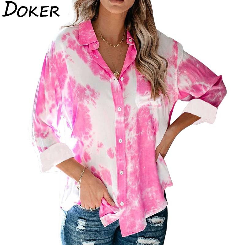 2020 Tie-dye Plus Size Tops For Women Blouses Turn-down Collar Long Sleeve Office Vintage Ladies Shirts Casual Streetwear Blouse
