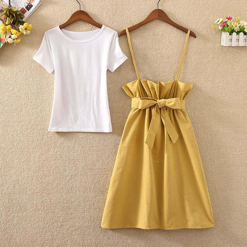Preppy Style Women Sets Two Pieces White T-shirts And Ruffles Strap Solid A-line Pleated Skirts Lady Elegant Skirts Suits
