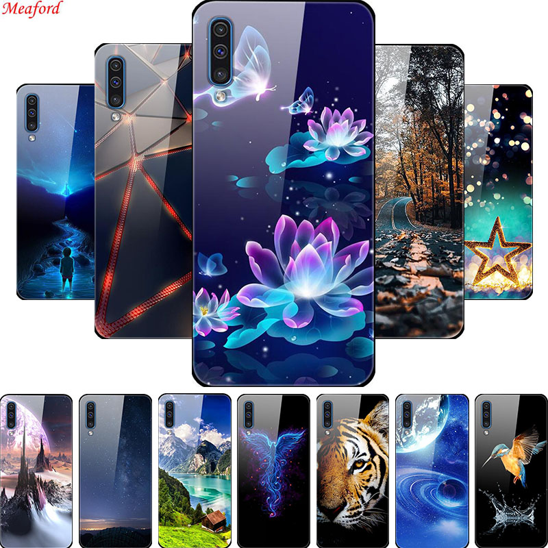 Luxury Glass Case For Samsung Galaxy A50 Case A 50 Back Cover For Samsung A50 2019 Case For Samsung A30s A70 Case A 30s A51 A 51 image