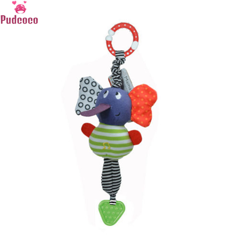 Pudcoco Brand Lovely Cute Toys For Kids Music Elephant Lathe Hang Kids Soft Dolls Educational Baby Toys Teether Gift Unisex 34cm